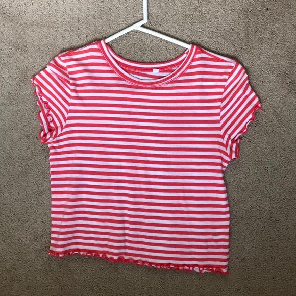 PacSun Tops - Striped ruffle T-shirt